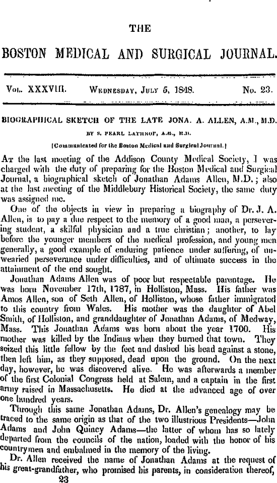 Biographical Sketch of the Late Jona  A  Allen, A M , M D