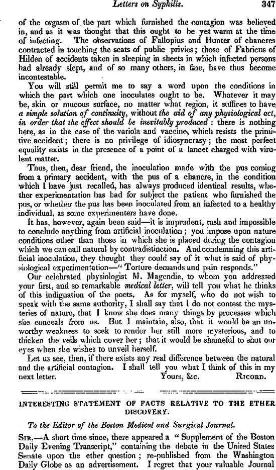 Interesting Statement of Facts Relative to the Ether Discovery — NEJM