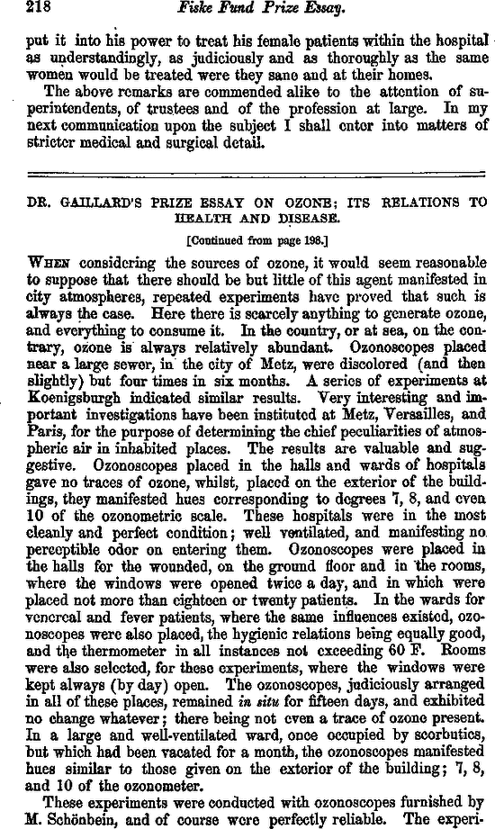 dr gaillards prize essay on ozone its relations to health and  free first page