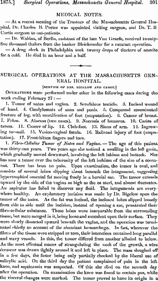 Surgical Operations at the Massachusetts General Hospital — [service