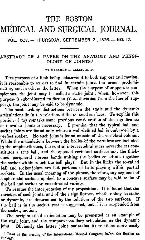 Abstract of a Paper on the Anatomy and Physiology of Joints | NEJM