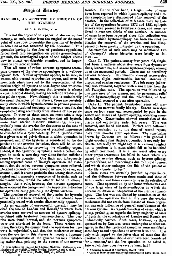 Hysteria As Affected By Removal Of The Ovaries Nejm