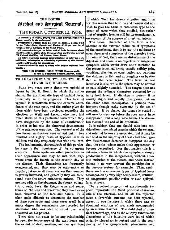 The Exanthematic Type Of Typhoid Fever In Children Report Of Maryland Tuberculosis Commission Diminished Medical Classes Medical Notes Nejm