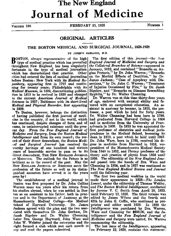 The Boston Medical And Surgical Journal, 1828–1928