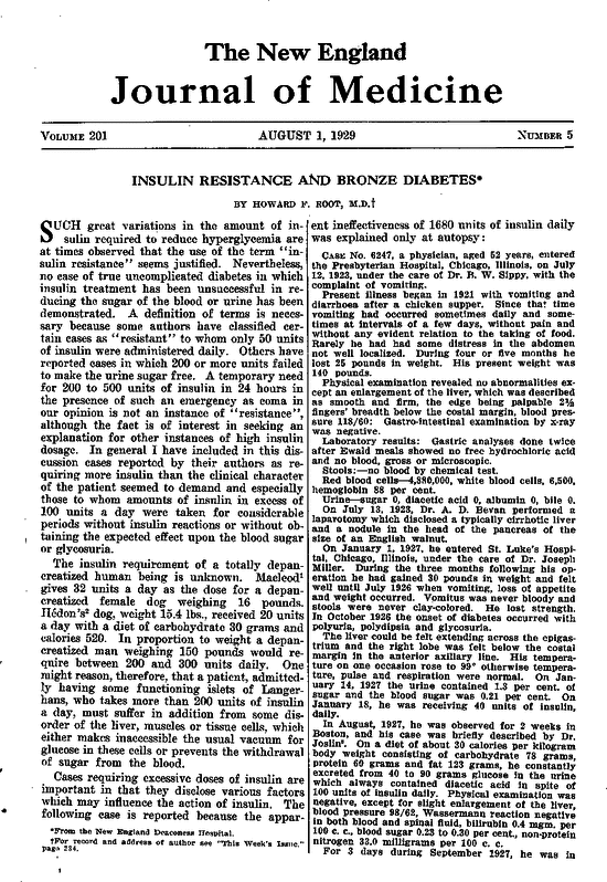 insulin resistance and bronze diabetes nejm  first page