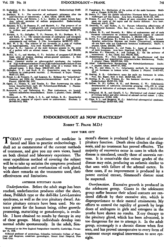Endocrinology as Now Practiced | NEJM
