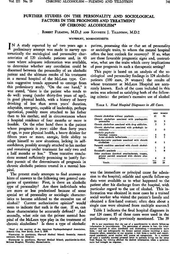 Further Studies On The Personality And Sociological Factors In The