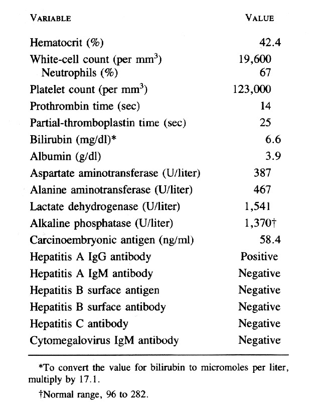 Case 40-1993 — A 61-Year-Old Woman with Jaundice, Anemia