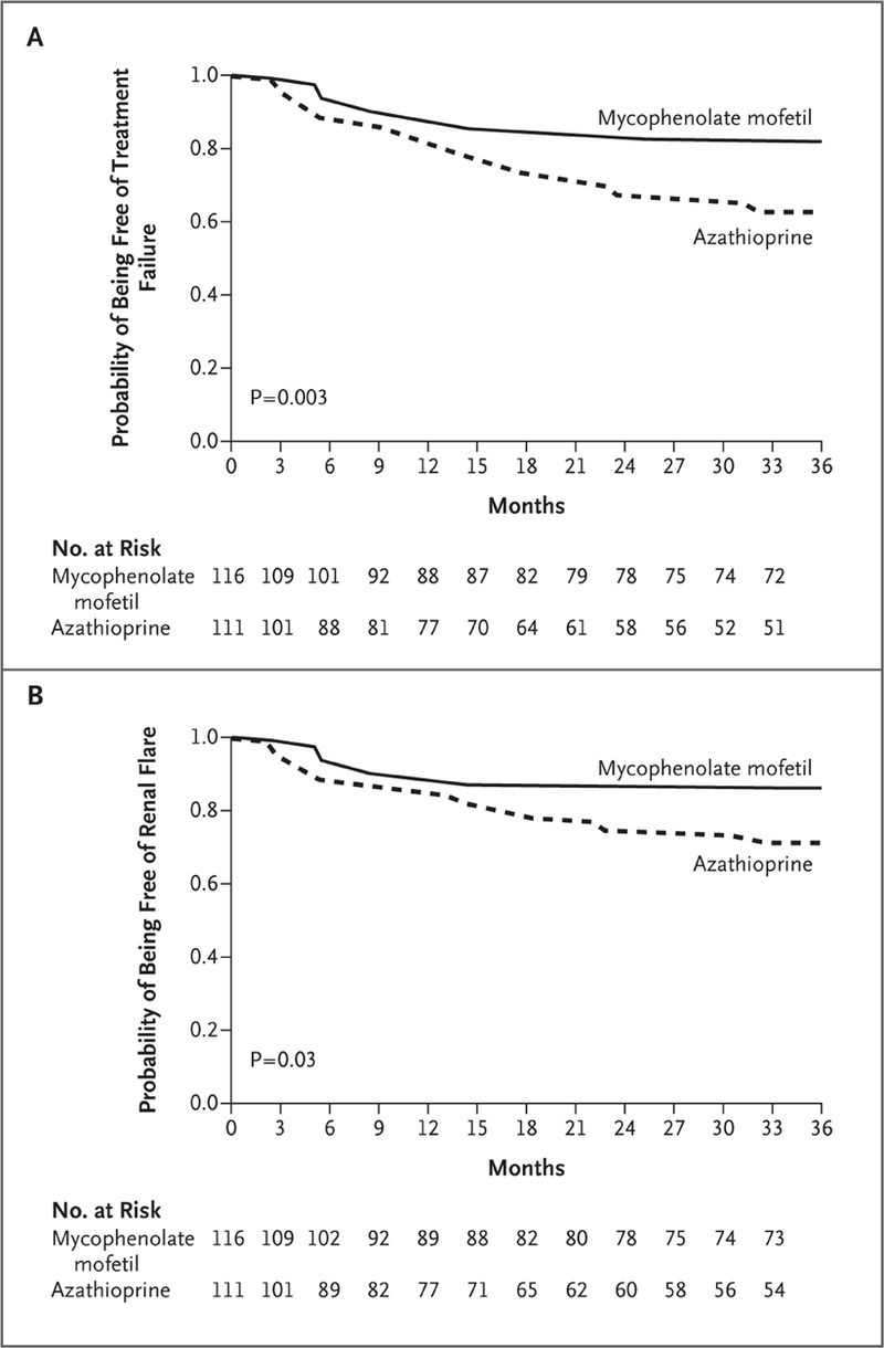 Mycophenolate versus Azathioprine as Maintenance Therapy for Lupus