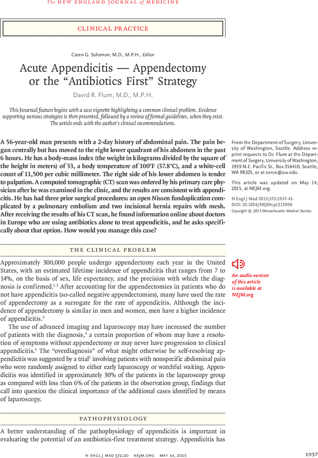 "Free Preview for Acute Appendicitis — Appendectomy or the ""Antibiotics First"" Strategy"