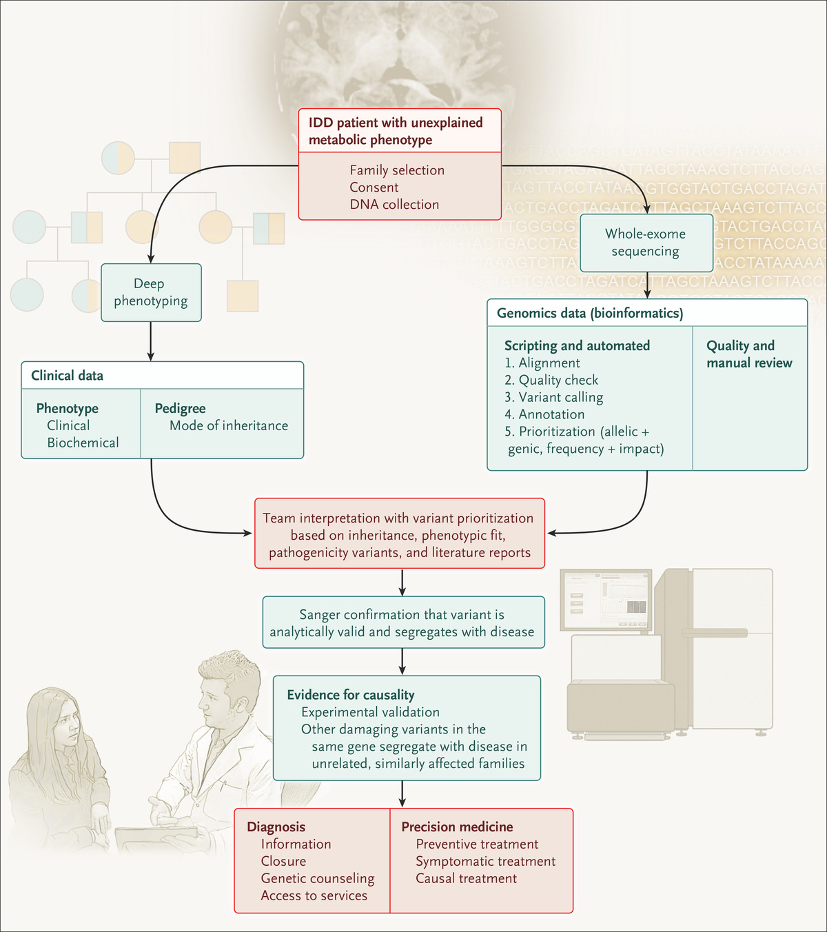 Exome sequencing and the management of neurometabolic disorders nejm flow chart showing gene discovery approach with the use of collaborative phenomics and semiautomated genomics nvjuhfo Gallery