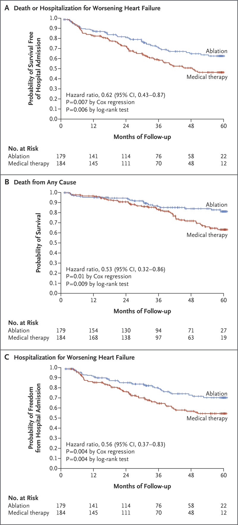 Catheter ablation for atrial fibrillation with heart failure nejm kaplanmeier curves comparing survival free of the primary end point death from any cause or admission for worsening heart failure and its two components nvjuhfo Image collections