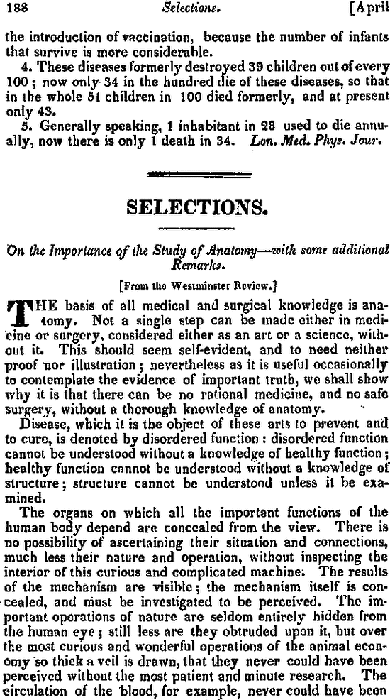 On The Importance Of The Study Of Anatomy With Some Additional